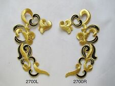 #2239 Gold Trim Fringe Glitter Boho Art Embroidery Applique Patch//Pair