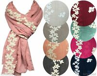 Womans Floral Embroidery Scarf Big Large Maxi Plain Shawl Hijab Sarong Wrap Cape