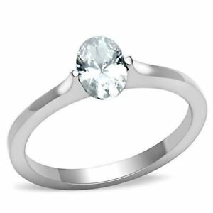 1762-SOLITAIRE-ENGAGEMENT-OVAL-SIMULATED-DIAMOND-STAINLESS-STEEL-RING-WOMENS-NEW