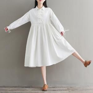 Womens-A-Line-Pleated-Cotton-Linen-Shirt-Dress-Thin-Long-Sleeve-Dress-Casual-New