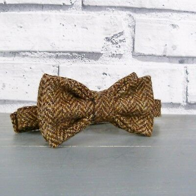 Boys Peanut Brown Herringbone Check Bow Tie Tweed