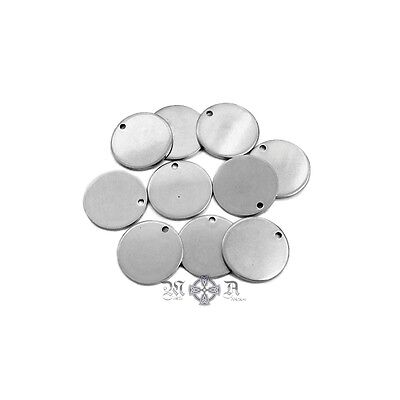 15 x Stainless Steel 15mm Round Blank Stamping Tags Charms
