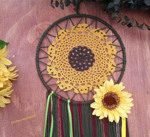 Fall sunflower wreath,Sunflower dreamcatcher,Floral decor