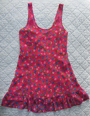 NWT ABERCROMBIE & FITCH Girls Dress Size S L Pink Flower Pattern Kids Lined