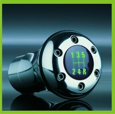 RACE CHROME STICK GEAR SHIFT KNOB SHIFTER LED GREEN LIGHT UNIVERSAL MANUAL 12V