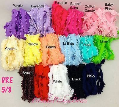 3 yards  5/8 Double Ruffle ELASTIC 17 colors super soft great for headbands