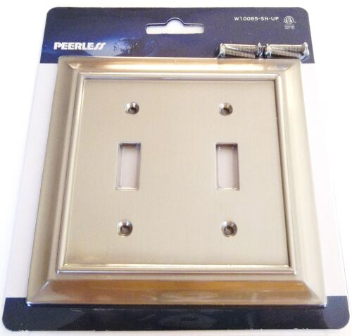 5 PEERLESS SATIN NICKEL WALL SWITCH PLATE COVER LIGHT DOUBLE TOGGLE W10085 GANG