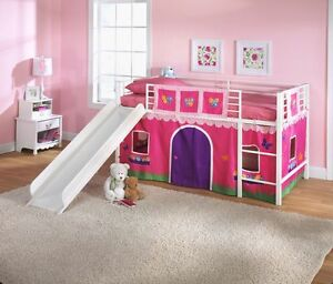 New kids twin loft bed curtain flowers fire truck play for Kids bed with play area