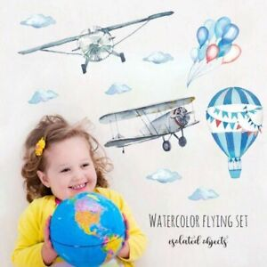 Watercolor-Airplane-Wall-Stickers-Nursery-Kids-Room-Removable-Mural-Decal-Decor