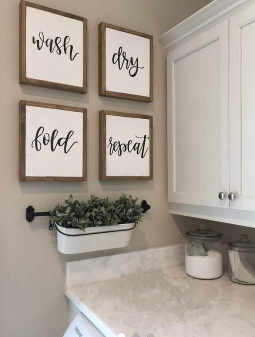 Wash dry fold repeat laundry room sign set