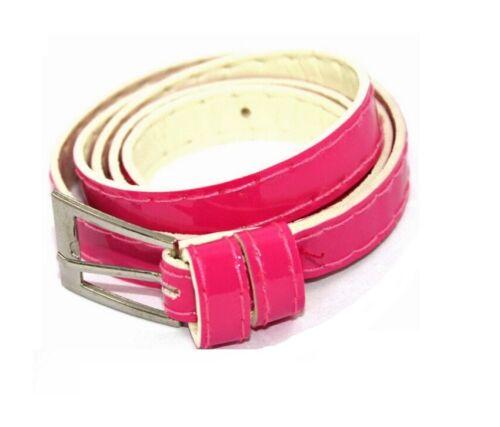 Pink Ladies Womens Girls Skinny Leather Belt Fashion Dress Patent Leather Thin