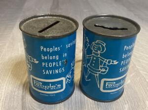 "2 X Vintage PEOPLE'S Savings Bank Piggy Coin Banks United Tin 3"""