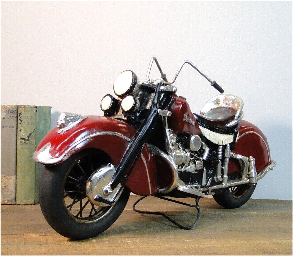Indian Motorcycle Bike Rubber Wheels Iron Spokes Antique Vintage Vintage Vintage Style 906