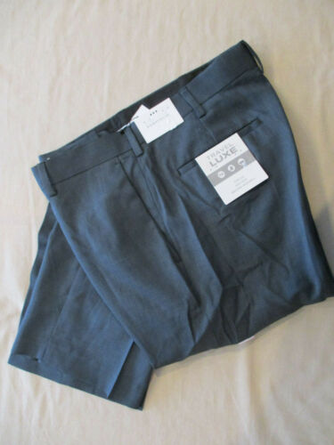NWT $75 PERRY ELLIS EASY CARE FLAT FRONT TRAVEL-LUXE DRESS PANTS NAVY 40X32