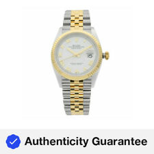 Rolex Datejust 36 18K Yellow Gold Stainless Steel White Dial Mens Watch 126233