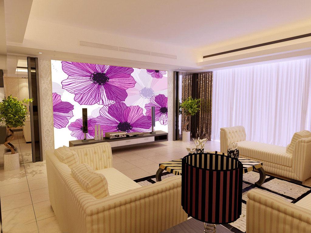 3D lila flowers line1 WallPaper Murals Wall Print Decal Wall Deco AJ WALLPAPER