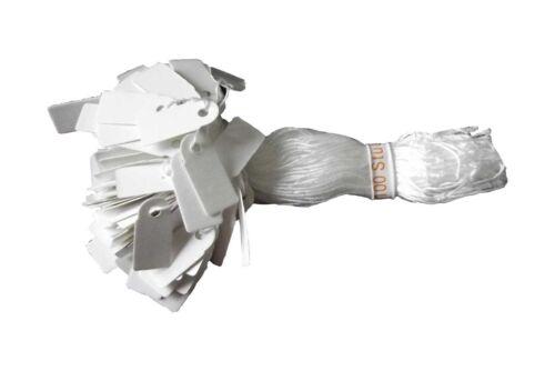 100 Hängeetikett 7 x 15 mm mit weißem Faden  Preisetiketten mit Aufhängeband