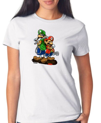 Urban Street Brothers T-Shirt Girls  WhiteMario Klempner, Luigi