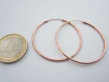 1 paio di orecchini cerchio di 40 mm in argento 925 placcato oro rosso italy