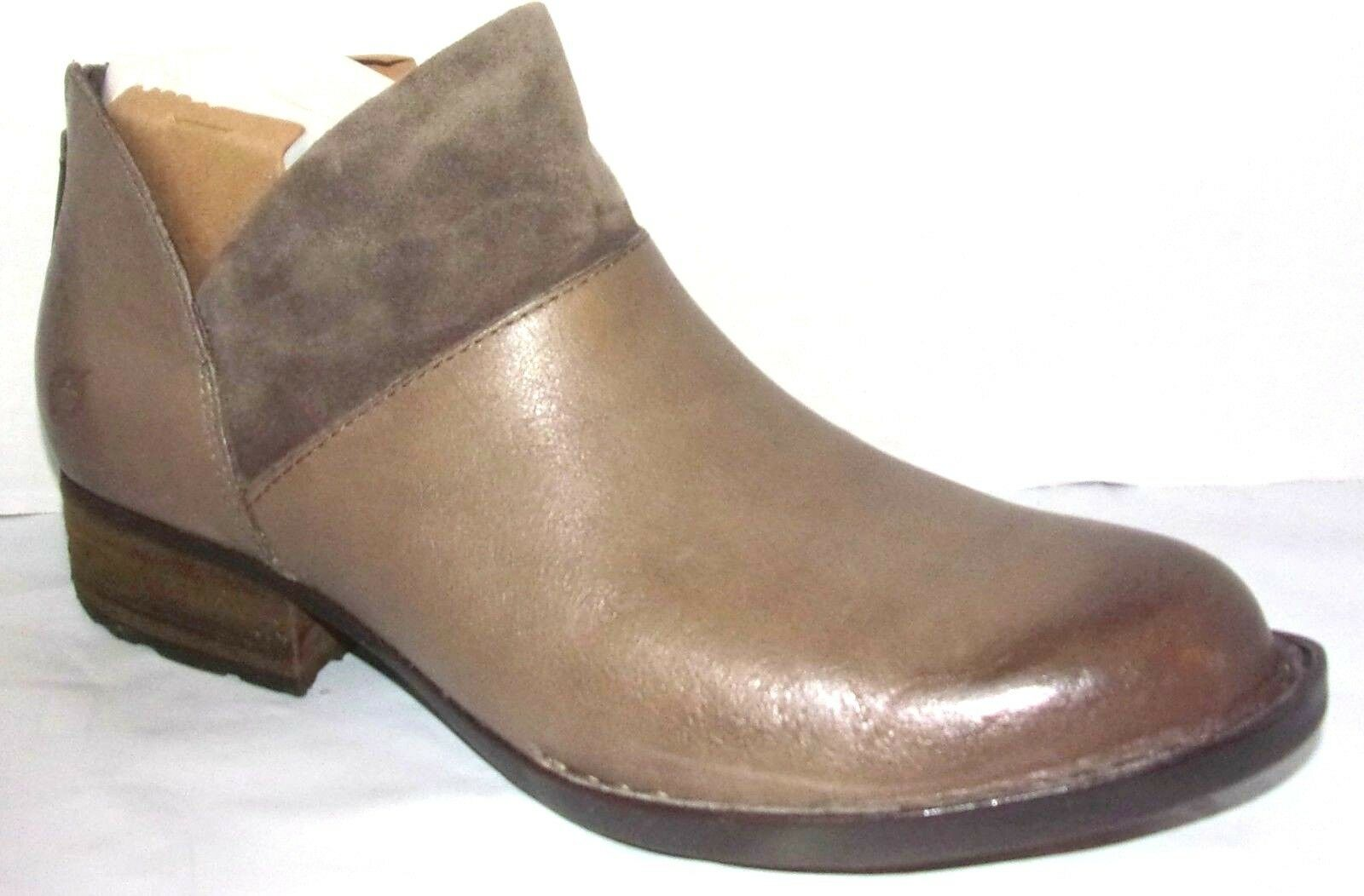 NIB Born Karava Taupe Light Grey Leather & Suede Combo Ankle Boots 6.5 M