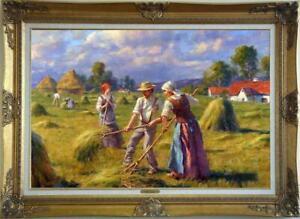 """Hand-painted Old Master-Art Antique Oil Painting farm girl on canvas 24""""X36"""""""
