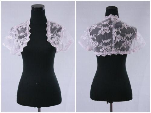 New Short Sleeve White Ivory Lace Shawl Bolero Wedding Jacket Bridal Custom G