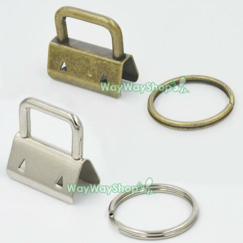 "1/"" 25mm Key Fob Hardware for keychain Split ring wrist Wristlets Ribbon pick"