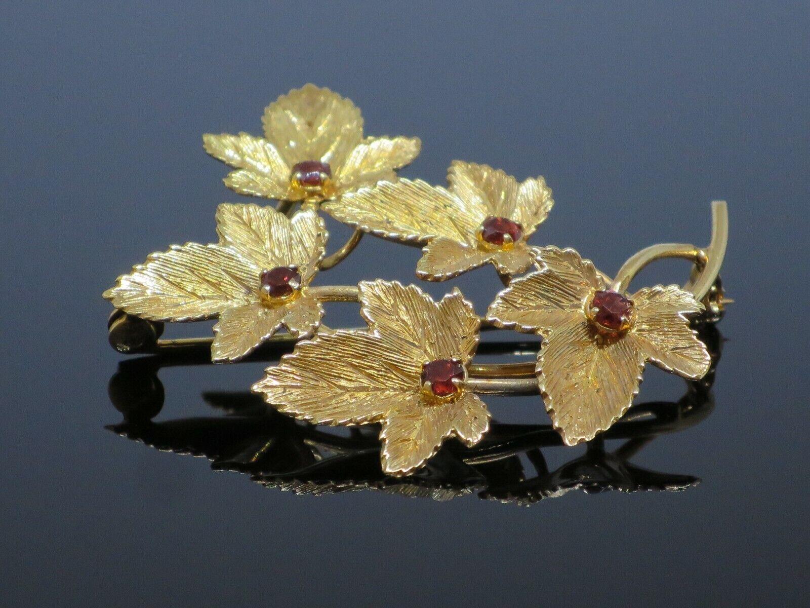Vintage 0.5CTW Garnet 9K Yellow Gold Brooch Pin, … - image 2