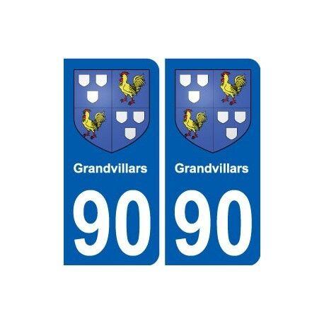 90 Grandvillars  blason autocollant plaque stickers ville -  Angles : arrondis