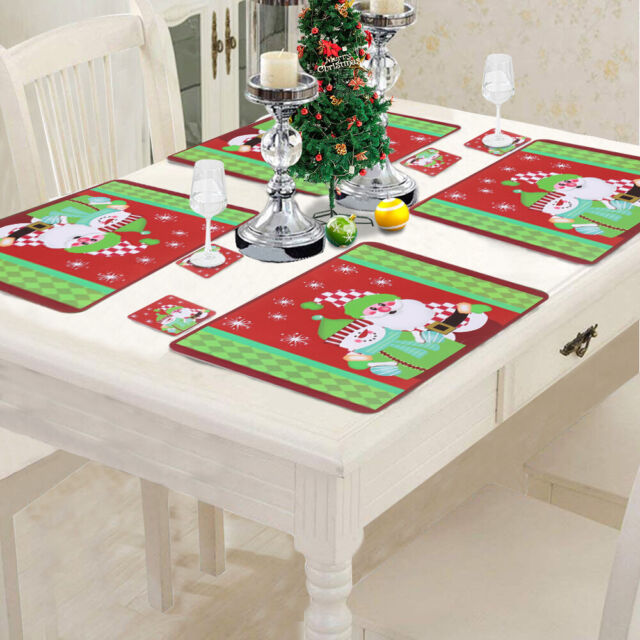 12pc Santa Green Christmas Placemats & Coasters PVC Table Place Mats Dinner