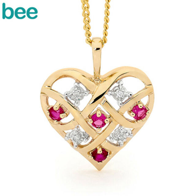 Heart Ruby & Diamond 9ct 9k Solid Yellow Gold Pendant 64747/CR