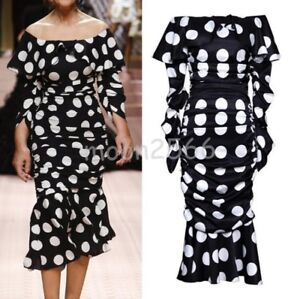 7f4677f520824 Details about Occident Womens Off Shoulder Polka Dot Long Dress Fashion Pleated  Fishtail Skirt