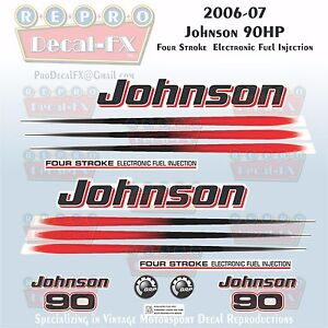 2006-07 Johnson 90 HP Four Stroke EFI Outboard Reproduction 17 Pc Vinyl Decals