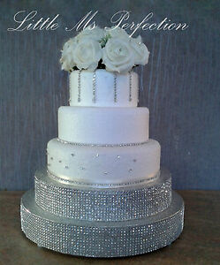 Image Is Loading DIAMANTE WEDDING PODIUM CAKE STAND SILVER GOLD TIERED