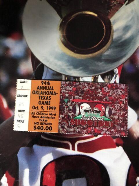 1999 Oklahoma Sooners Texas Longhorns Football Ticket Stub ...