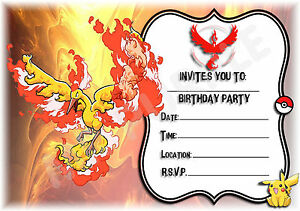 a kids childrens party invitations x   pokemon go team valor, Party invitations