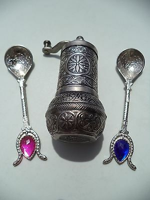 Turkish Handmade Antique Salt Pepper Spice Grinder 4'' with 2 Handmade Spoons