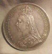Great Britain 1887 Victoria Silver Crown Very High Grade AU+