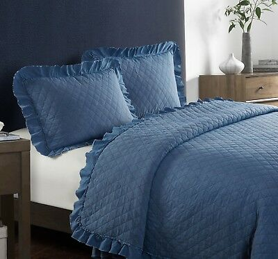 King Blue Modern Farmhouse Bed Acid Wash Ruffle 3 Piece Quilt Set Bedding 784857801811 Ebay