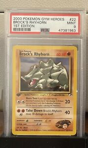 Pokemon-PSA-9-MINT-2000-1st-Edition-Gym-Heroes-Brock-039-s-Rhyhorn-Card-22-132