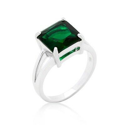 Silver Cocktail Ring Princess Cut Emerald Green Cubic Zirconia Size 9 10 USeller
