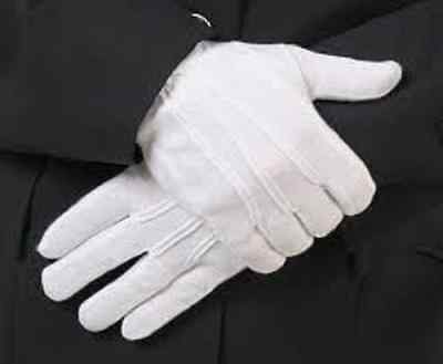 1 PAIR WHITE FORMAL PARADE GLOVES WITH PVC MINI DOTS TUXEDO HONOR COLOR GUARD