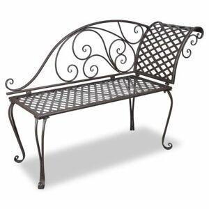 vidaXL-Garden-Chaise-Lounge-128cm-Steel-Antique-Brown-Outdoor-Bench-Seat-Chair