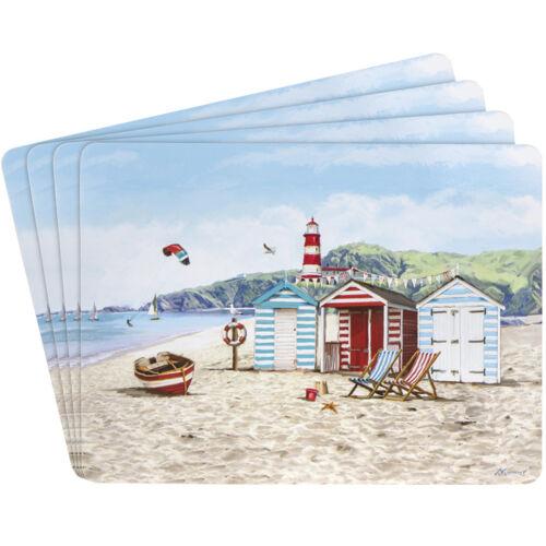 New Sandy Bay Design Set of Four  Place Mats Nautical Beach Hut Seagull Boat