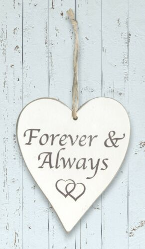 Forever and Always Wooden Heart Wall Hanging in White by Eleganza