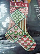 Vtg Needlepoint Christmas Stocking Kit PATCHWORK WOOL TAPESTRY 6896 easy NIP