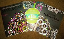 3 New Adult Coloring Books Ultimate Mandalas~Patterns~Relaxing Mandalas~Lot of 3