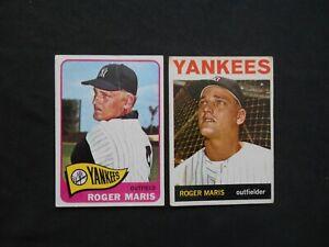1964-1965-Topps-155-225-Roger-Maris-Baseball-Card-Lot-2-New-York-Yankees