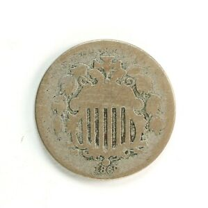 Raw-1869-Shield-5C-Uncertified-Ungraded-Circulated-US-Mint-Nickel-Coin