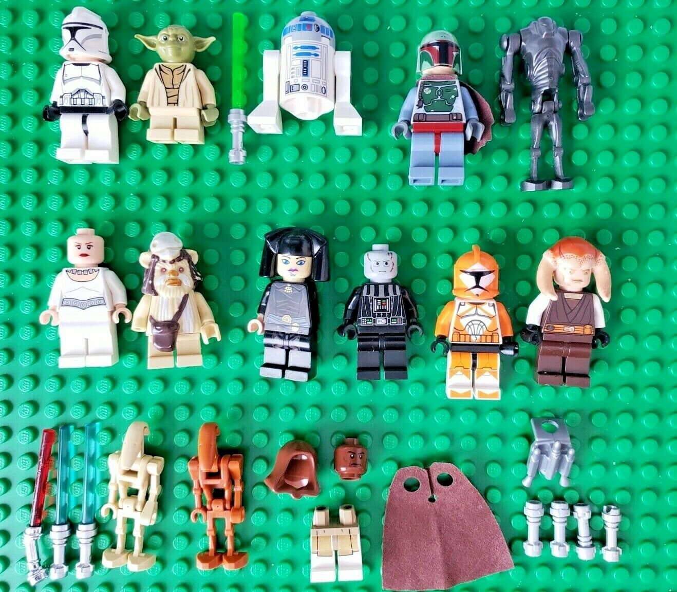 Lego Star Wars Minifigure Lot Boba Fett Leia Clone Trooper Droid Vader Yoda Mace
